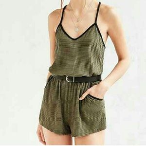 Silence + Noise Black and Green Ribbed Romper